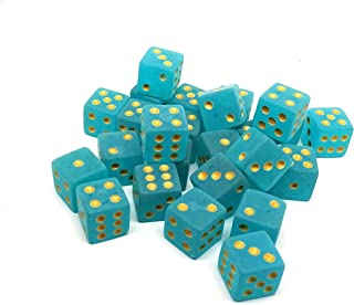 Easy Roller Dice Co. 25 Count D6 Collection - Frosted Ice with Gold Pips - Perfect for Tabletop Wargames and RPGs