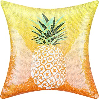 DEEECREEK Sequin Pillow Cover, Unicorn Pillows Mermaid case Funny Sparkle Flip Magic Reversible Sequin Pillow Cover Decorative Throw Cushion Case for Couch Home (Pineapple)