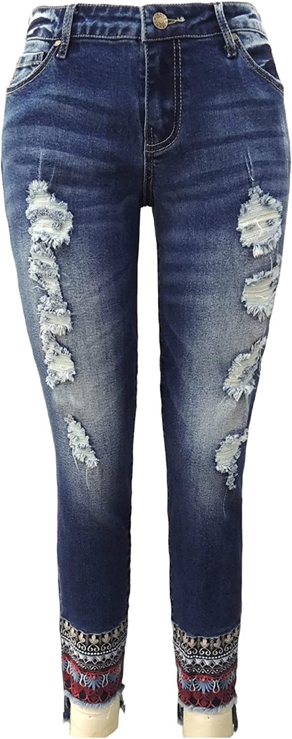 EliteJeans Women Jeans In Junior Sizes Embroidered HiLow Hem Distress Ripped Skinny Jeans