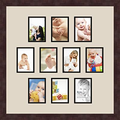 Art to Frames Double-Multimat-1023-844//89-FRBW26061 Collage Frame Photo Mat Double Mat with 10-3.5x5 Openings and Espresso Frame