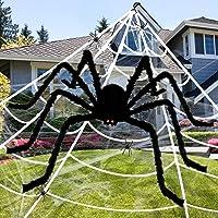 Apsung - Decoraciones de tela de araña de Halloween de 7 m + araña gigante peluda y aterradora falsa de 152 cm, 4 arañas...