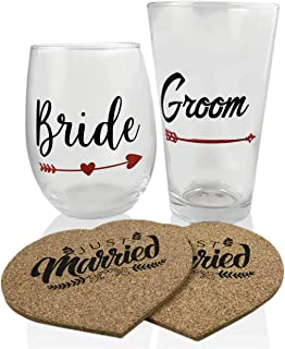 Just Married Wedding Glasses Set for Bride & Groom with Heart Coasters. Excellent Wedding Gift, Reception, for Champagne, Wine. 21oz Stemless Bride & 16oz Groom Pint with Unique Sayings on Back