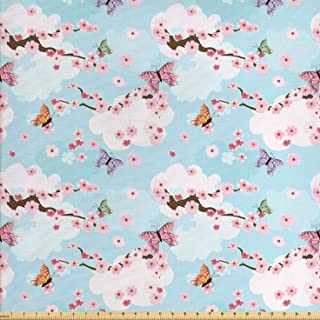 Ambesonne Cherry Blossom Fabric by The Yard, Fantasy Composition with Spring Inspired Nature Elements Butterflies Clouds, Decorative Fabric for Upholstery and Home Accents, 1 Yard, Pastel Blue