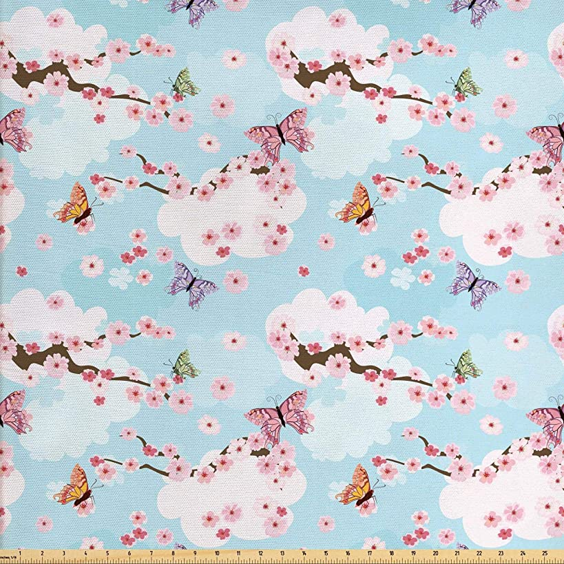 Ambesonne Cherry Blossom Fabric by The Yard, Fantasy Composition with Spring Inspired Nature Elements Butterflies Clouds, Decorative Fabric for Upholstery and Home Accents, 2 Yards, Multicolor