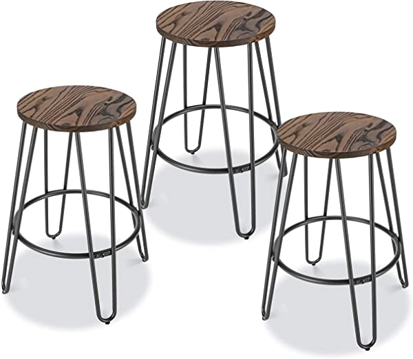 Poly And Bark DI CS438 01 X3 Kasey Counter Stool Set Of 3 Charcoal Grey Walnut