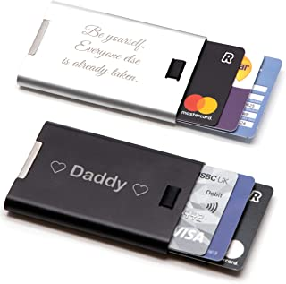 Personalised Custom Slim Metal Card ID Holder + Gift Box | Design A Truly Unique Present | Laser Engraved Fathers Day Gift...