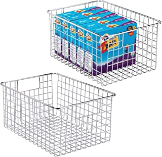 mDesign boîte en métal polyvalente (lot de 2) – grand panier de rangement en fil métallique pour la cuisine, le garde-mang...