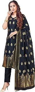 Indian Pakistani Women's Readymade Dress| Banarasi Art Silk Dress Stitched Punjabi Suit || Salwar Kameez & Silk Dupatta