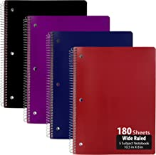 Emraw 5 Subject Notebook Spiral with 180 Sheets of Wide Ruled White Paper - Set Includes: Red, Black, Purple, Blue Covers (Random 2-Pack)