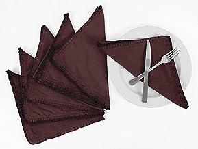 Vargottam Wine Home Décor Washable Dining Table Frill Napkins Set-Pack of 6