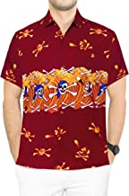 LA LEELA Men's Skull Halloween Costume Casual Camp Hawaiian Shirts Printed B