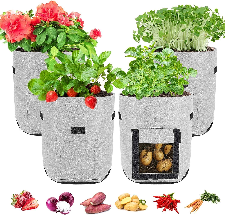 Plant Grow Bags, MLLI 7/10 Gallon Garden Growing Planter Bags for Vegetable Potato Carrot Tomato Onion with Strap Handles Double Layer Breathable Nonwoven (7 Gallon,4pcs, Grey)