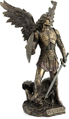 12.75 Inch St. Michael Standing on Demon with Sword and Shield Statue