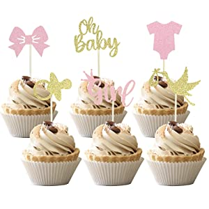 36 PCS Baby Shower Oh Baby Cupcake Toppers with Bow Onesie Pacifier Girl Glitter Cake Picks Decorations for Baby Shower Girls Birthday Party Supplies Pink