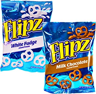 (Pack of 72) Flipz Pretzels White Fudge, Milk Chocolate, Covered Pretzel, Assorted 3.25oz