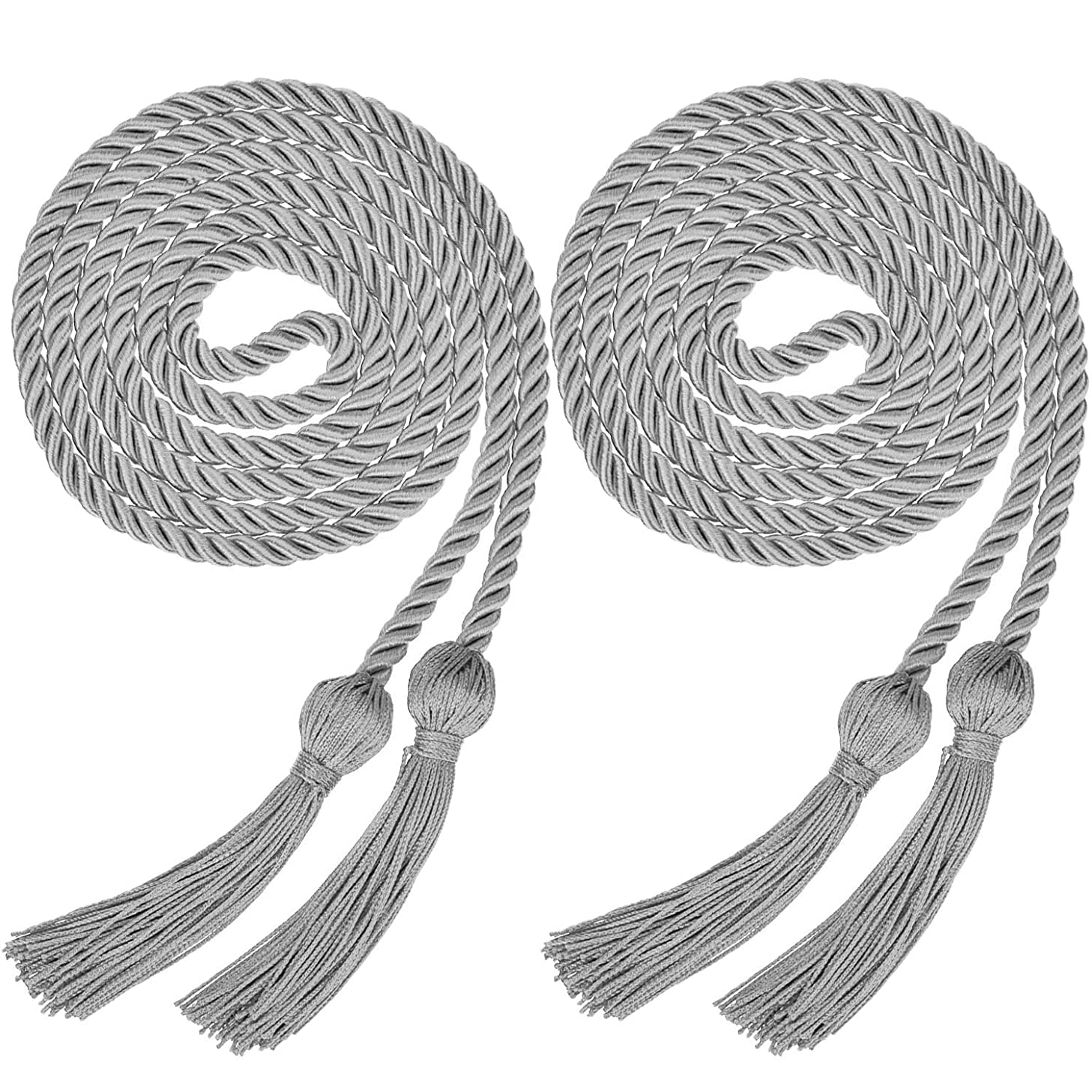 Yaomiao 2 Pieces Graduation Cords Polyester Yarn Honor Cord with Tassel for Graduation Students (Silver)