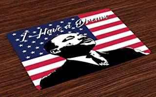 Ambesonne Americana Place Mats Set of 4, Black and White Martin Luther King Portrait United States Flag and Famous Words, Washable Fabric Placemats for Dining Room Kitchen Table Decor, Multicolor