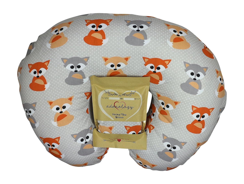 Nursing Pillow Slipcover, Baby Gray Foxes Design, Maternity Breastfeeding Newborn Infant Feeding Cushion Cover Case, Baby Shower for New Moms