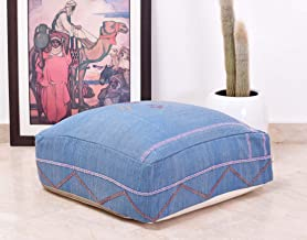 PNS152 Refashioned from Hand Woven Moroccan Fabric insert available 24x24x8 Cactus Silk Blue Floor Cushion
