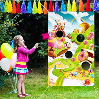 Blulu Candy Bean Bag Toss Games with 3 Bean Bags Candy Party Games Candy Wonderland and Sweet Adventures Wall Decoration f...