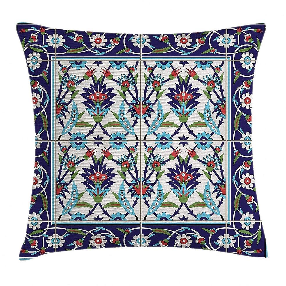 分類ドレス拷問トルコのパターン投げ枕クッションカバー、自然風装飾モザイクタイルチューリップとデイジーとカール、装飾的な正方形のアクセント枕ケース、18 x 18インチ、多色