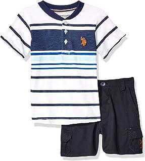 U.S. Polo Assn. Baby-Boys 8740 2 Piece Short Sleeve Henley T-Shirt and Short Set Shorts Set - Blue