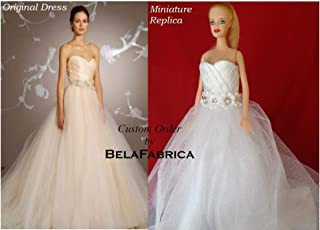 Custom Miniature Replica Wedding Dress Keepsake Gift for wife and daughter 1/6 Scale Barbie Bride Memory Dollhouse Doll Dress Bridesmaid Bridal Shower Wedding Centerpiece Personalized Gift Anniversary