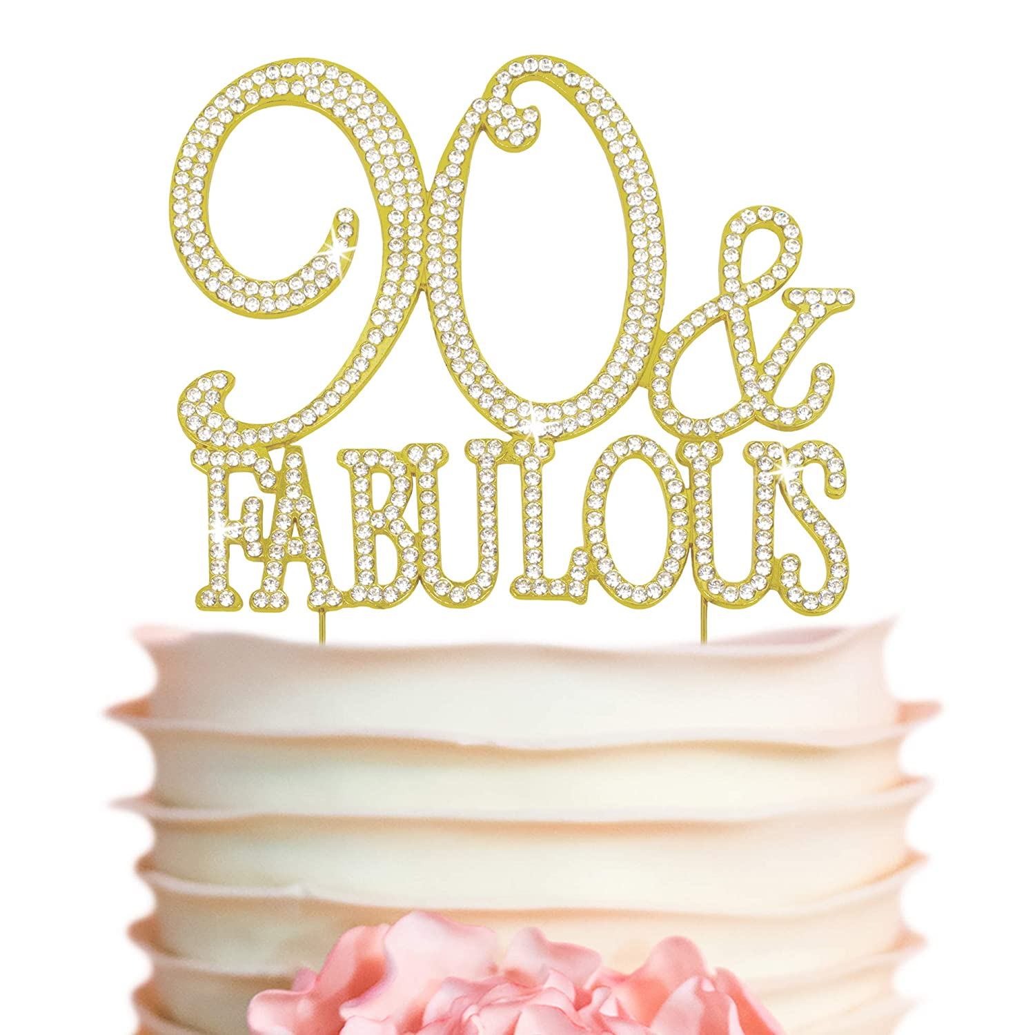 90 Oklahoma City Mall Cake Topper - Premium Gold and specialty shop Metal Bir 90th Fabulous