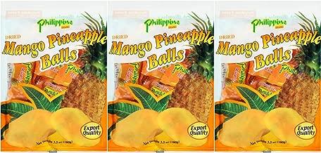 Philippine Brand Dried Mango Pineapple Balls 3 Pack 100g 3.52 oz each