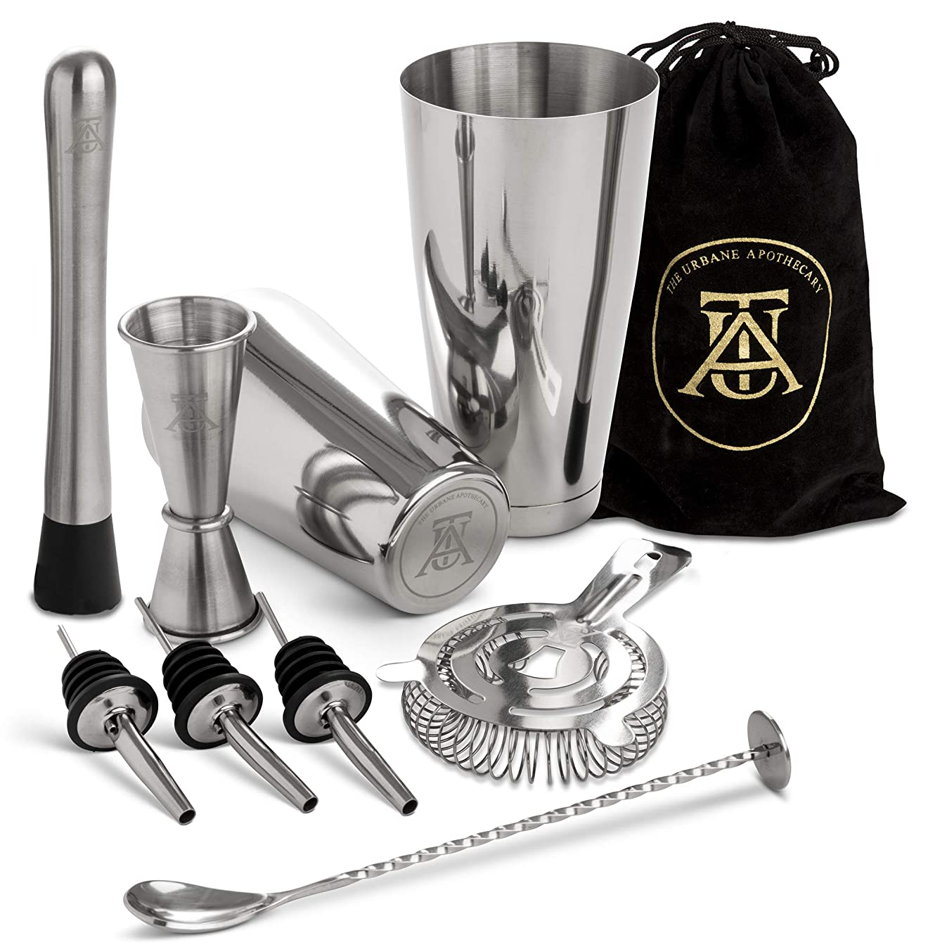 Boston Cocktail Shaker Set? - ?Professional Bar Drink Mixing Supplies? - Ultimate Collection ?Bartender Muddler Kit?,? Stainless Steel Martini Shakers?, Gold with Black Velvet Sleeve