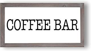 Coffee Bar Wood Sign 9x17 | Country Signs Home Decor Rustic Farmhouse Coffee Sign for Kitchen Wooden Wall Art Signs with Sayings and Quotes Framed Wall Plaque
