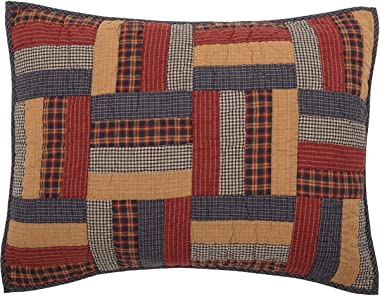 VHC Brands Nation Quilt Museum Kindred Stars and Bars Primitive Patchwork All Cotton Pillow Cover Sham, Tan, Standard Sham 21x37 (45614)