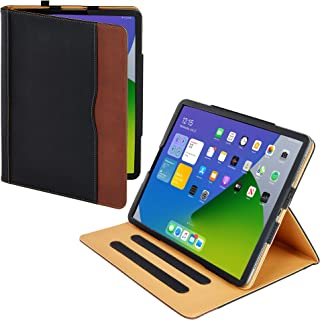 New S-Tech Apple iPad Pro 12.9 Black and Tan Soft Leather Wallet Magnetic Smart Cover with Sleep/Wake Feature Flip Folio C...
