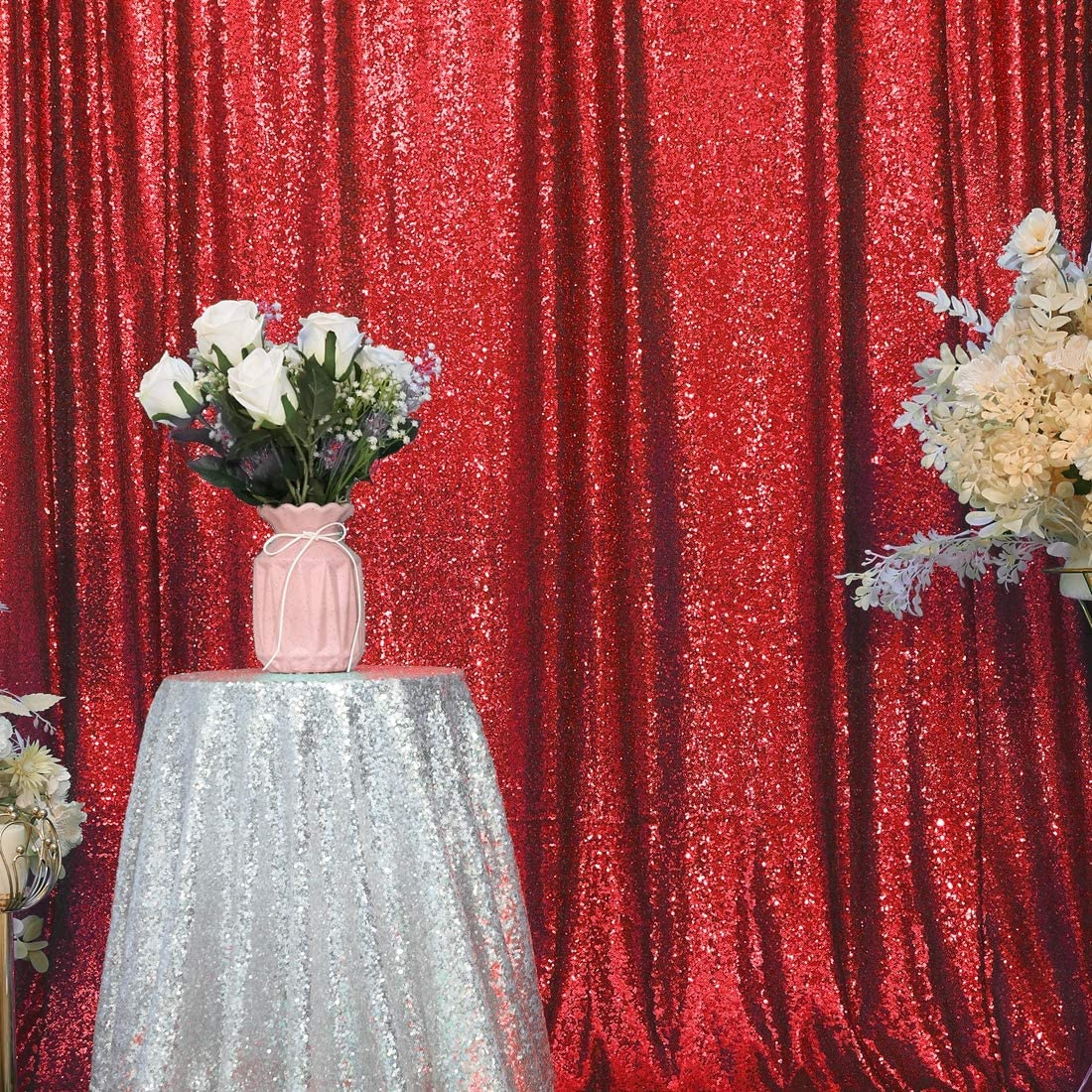 SquarePie Sequin Backdrop 20FT x 20FT Red Photography Background Sparkly  Curtain Selfie Wall for Wedding Party Decoration