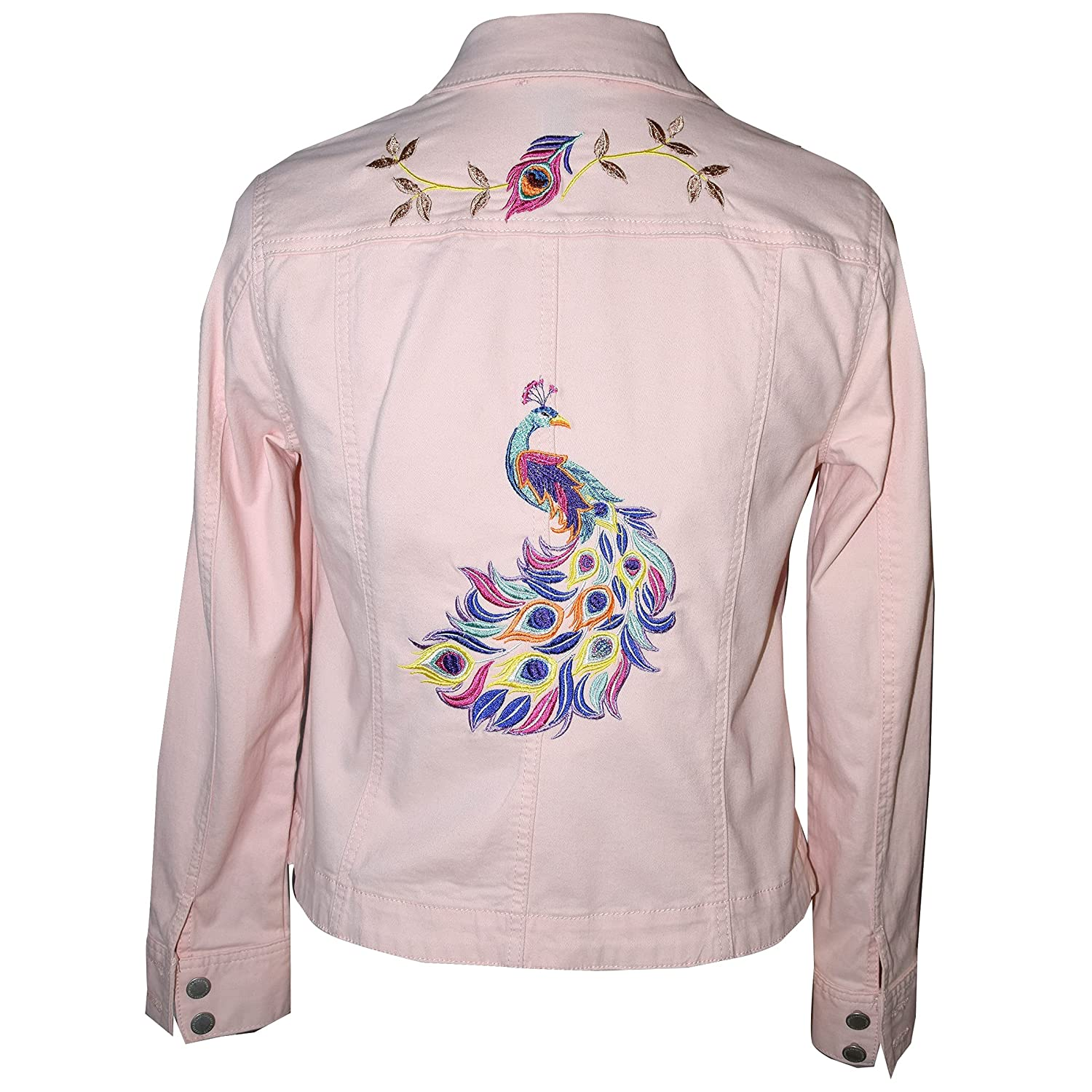 Adorable Pink Omaha Mall Stretch Denim Embroidered Jacket shop Peacock