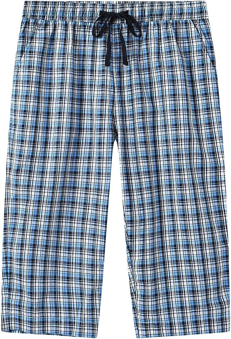 JINSHI Women's Pajama Pants Woven Capri Pajama Bottoms Sleepwear Pants with Pockets