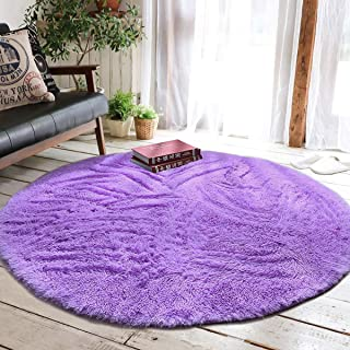 Junovo Round Fluffy Soft Area Rugs for Kids Girls Room Princess Castle Plush Shaggy Carpet Baby Room Decor, Diameter 4ft Purple