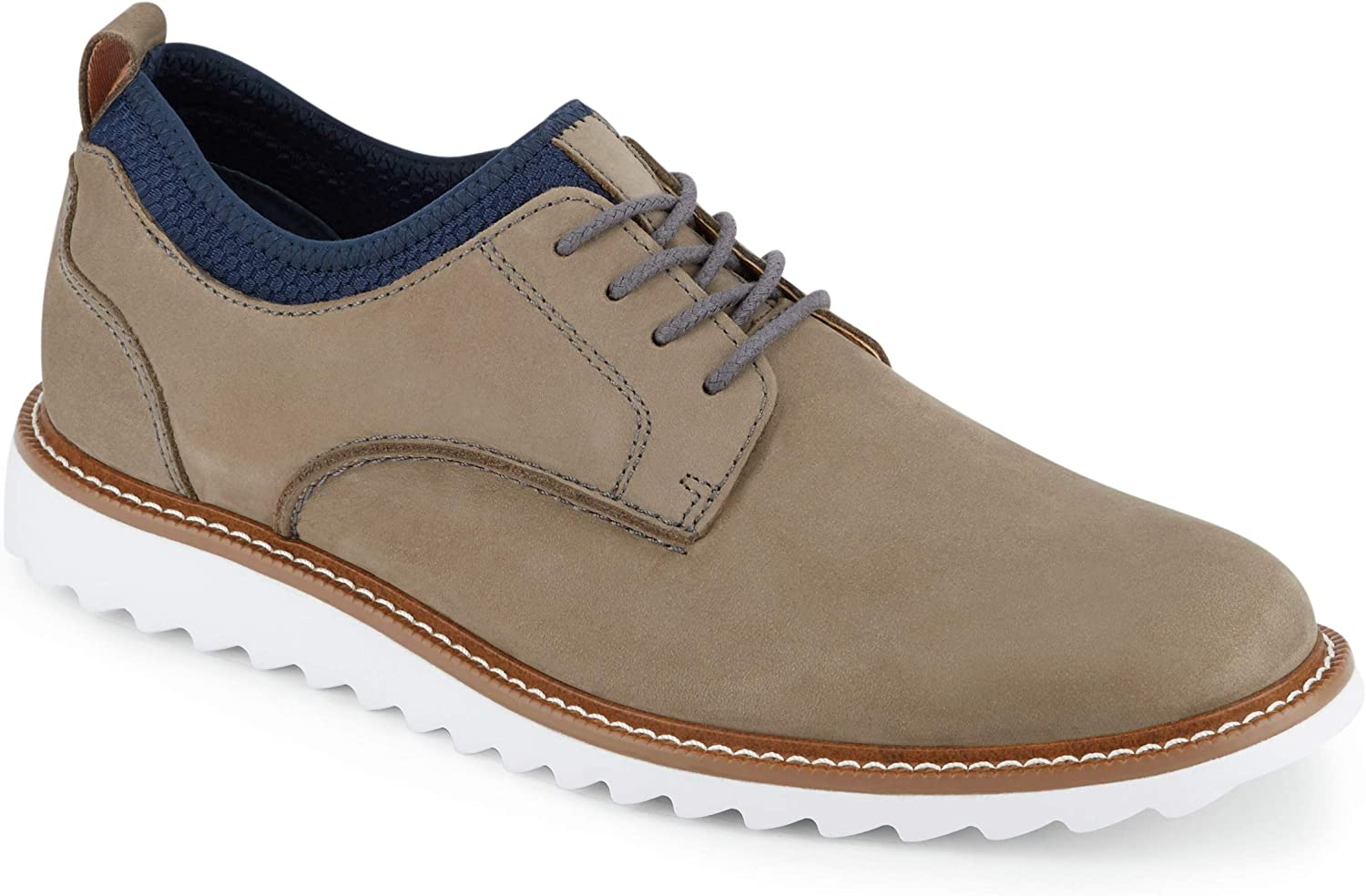 Dockers Mens Fleming Leather Smart Series Dress Casual Oxford Shoe, Grey/Navy, 9 M