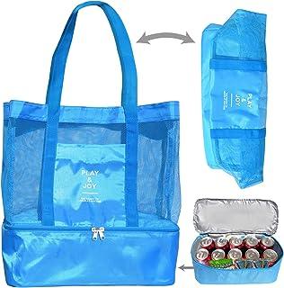 BenefitUSA Outdoor Sport Tote Bag Mesh Beach Bag Layered Cooler Heat Insulated Picnic Bags