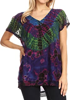 Sakkas Josea Relaxed Fit Tie Dye Embroidered Crepe Cap Sleeve Blouse | Cover Up