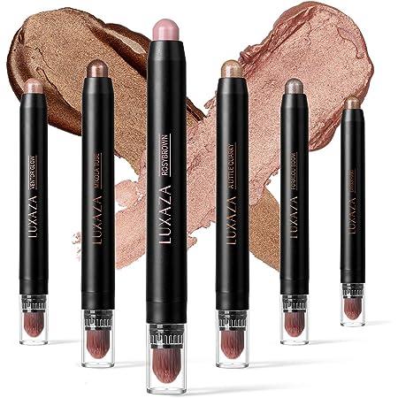 LUXAZA 6 PCS Neutral and Brown Metallic Eyeshadow Stick,Warm to Cool Cream Shimmer Eyeshadow Pencil Crayon,Pro Waterproof & Long Lasting Starter Eyeshadow Stick Sets
