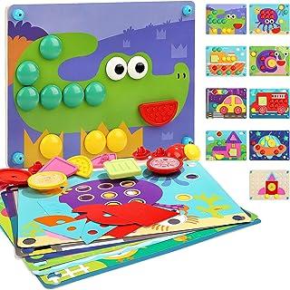 Nene Toys - Puzzle en Bois 8 en 1 pour Enfants – Jouet éducatif pour Filles et Garçons de 2, 3 et 4 ans Avec 8 Modèles de ...