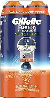 Gillette Fusion ProGlide 2 in 1 Shave Gel, Sensitive, Twin Pack, 6 Oz each, (Total of 12 Oz)