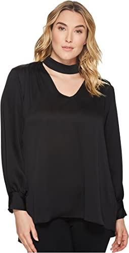 Vince Camuto Specialty Size - Plus Size Long Sleeve Mock Choker V-Neck High-Low Blouse