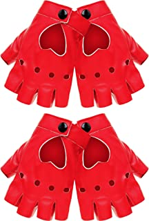 FingerlessGlovesPULeatherFingerlessGlovesPunkHalfFingerLeatherGlove (Style A, Red)
