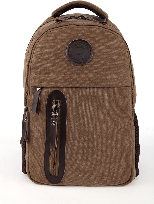 Genda 2Archer Men's Summer Canvas Outdoor Backpack Leisure Rucksack 16.77(H) x10.92(W) x7.41(Thickness) inch Coffee