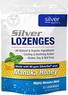 American Biotech Labs - Silver Biotics - Silver Lozenges - Made with 60 ppm SilverSol and Honey Manuka - 21 Count Bag