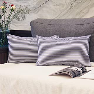 JOJUSIS Cotton Woven Striped Lumbar Throw Pillow Covers Soft Solid Farmhouse Classic Decorative Cushion Pillowcases for Sofa Bedroom Car 12 x 20 Inch Blue Pack of 2