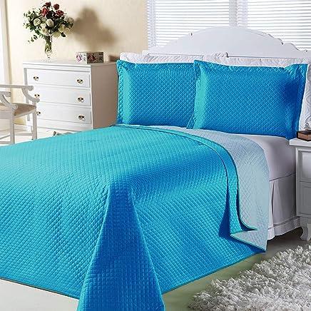 8211582fe4 Kit Combo Cobre Leito + Jogo de Banho Dual Color Turquesa Azul Queen 08  Peças