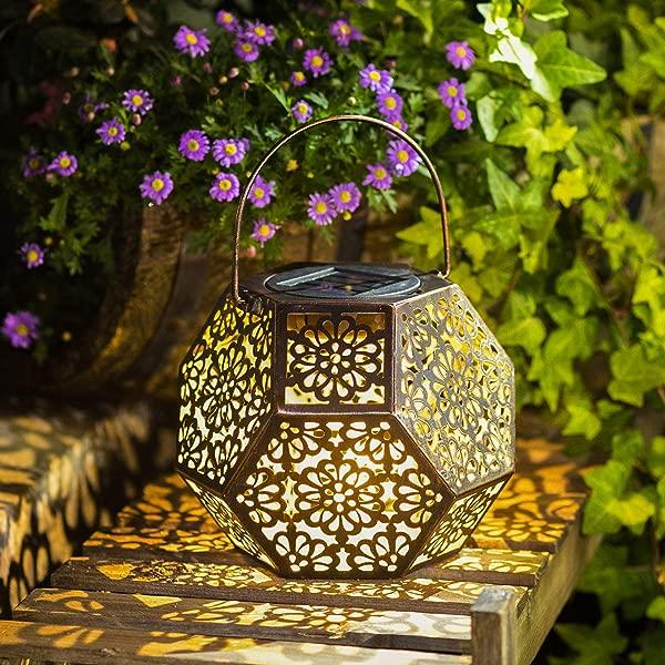 Solar Lantern Hanging Garden Outdoor Lights Metal Waterproof LED Table Lamp Bronze